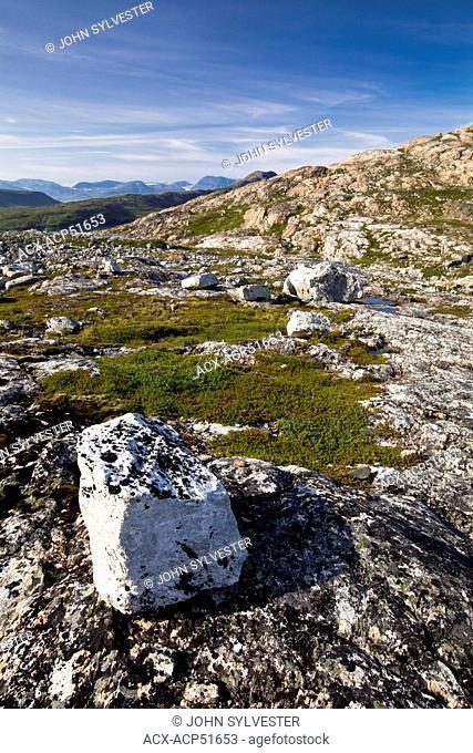 glacial scoured landscape of the Torngat Mountains, near Saglek Bay, Labrador, Canada