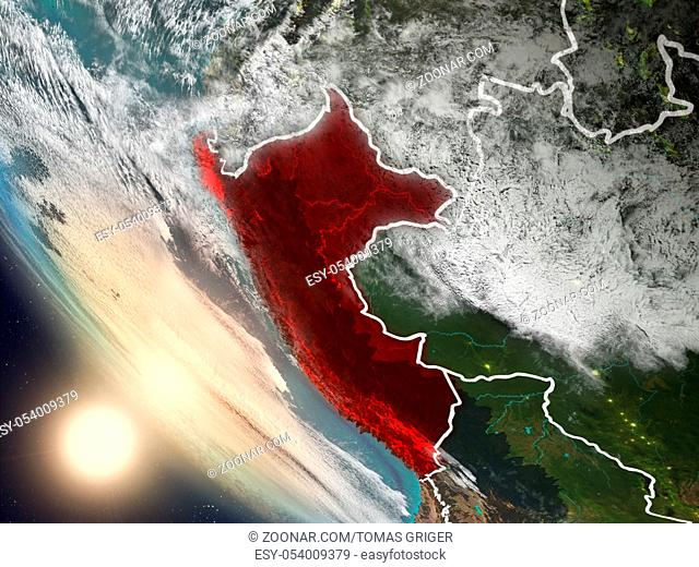Illustration of Peru as seen from Earth?s orbit during sunset with visible country borders. 3D illustration. Elements of this image furnished by NASA