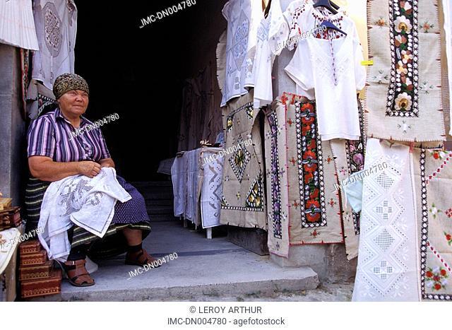 Hungary, Szentendre, embroideress