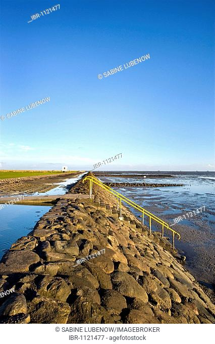 Stairs for swimmers, Hamburger Hallig, North Frisia, Schleswig-Holstein, Germany, Europe