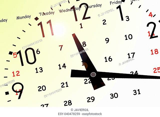 Clock and yellow calendar