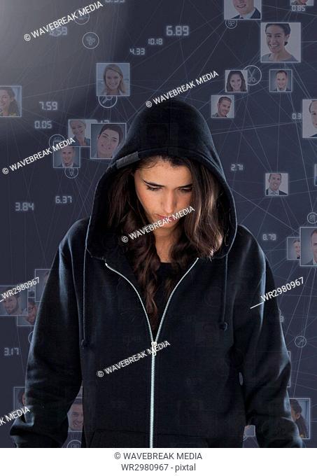 Woman hacker in front of 3d purple background
