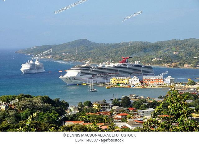 Caribbean Cruise ships in Isla Roatan Honduras Central America harbor