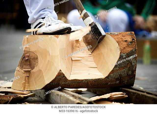 Wood cutters or aizkolaris in Basque language  Exhibition in Azkoitia  Basque rural sports Herri Kirolak in basque language are rooted in traditional lifestyles
