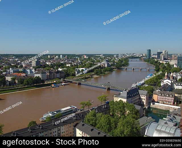 Aerial view of the city of Frankfurt am Main in Germany