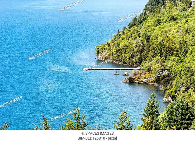 Aerial view of dock in Lake Wanaka, New Zealand