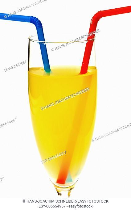 orange juice with straw