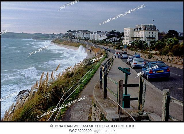 UK Falmouth -- Nov 2003 -- Waves crash against the sea defences on a windy afternoon -- Picture © Jon Mitchell / Lightroom
