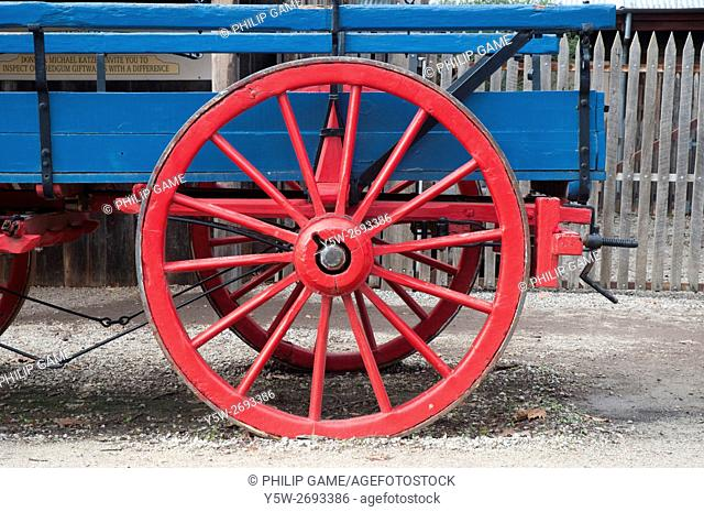 19th-century wagon at the historic river port on the Murray at Echuca, Victoria, Australia