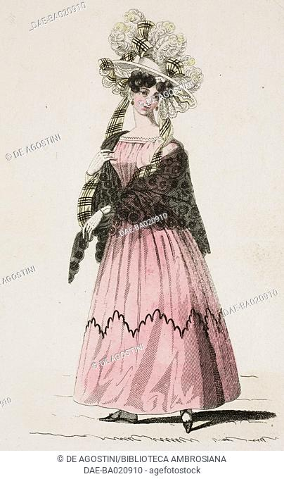 Woman wearing a pink dress with a black shawl and light-coloured hat adorned with ribbons and feathers, plate 50, French Fashions, Il Corriere delle Dame, 1827