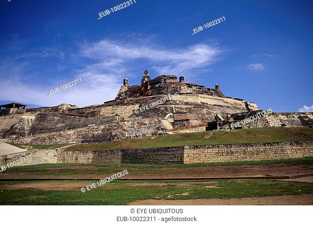 The Castle of San Felipe de Barajas with steep sided walls and crenellated battlements
