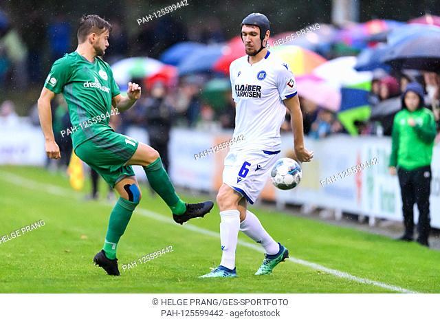 Damian Rossbach (KSC) duels with Nick Johann (Kirrlach). GES / football / 2. Bundesliga friendly match: FC Olympia Kirrlach - Karlsruher SC, 15.10