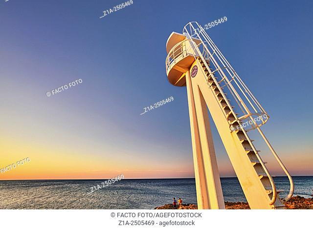 "Watchtower at """"Las Rotas"""" beach. Denia. Alicante. Valencia Community. Spain"