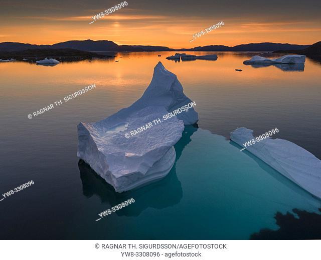 Icebergs at sunset, Narsaq, Greenland