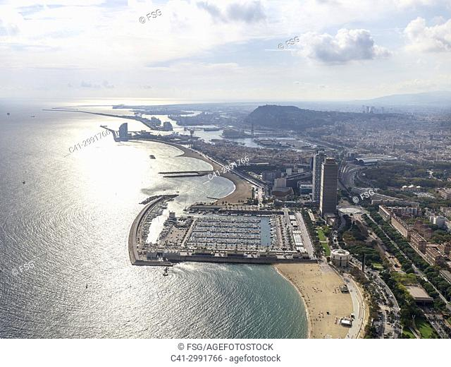 Port Olimpic and beach of La Barceloneta. Barcelona. Spain