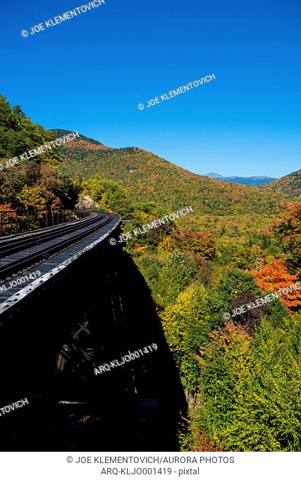 Scenic View Of The White Mountains With Railroad In Fall Colors