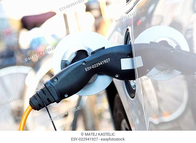 Electric Car in Charging Station