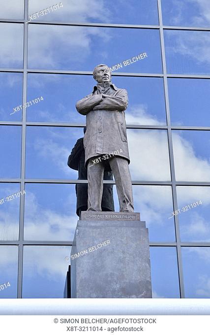 Sir Alex Ferguson Statue Outside Old Trafford, Home of Manchester United Football Club, England, United Kingdom