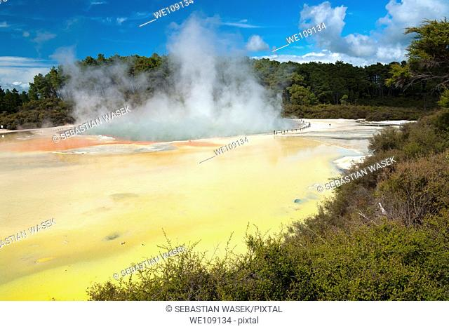 Artist's Palette, Wai-o-Tapu Sacred Waters area of the Taupo Volcanic Zone , North Island, New Zealand