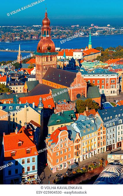 Aerial view of Old Town and River Daugava from Saint Peter church, with Riga Cathedral and Riga castle, Riga, Latvia