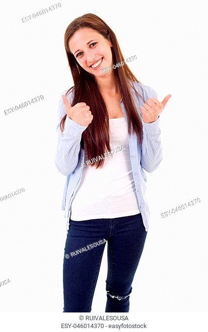 Portrait of cute teen girl showing thumbs up, isolated on white background