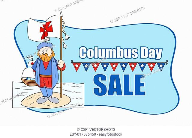 Cartoon Man with Columbus Day Flag