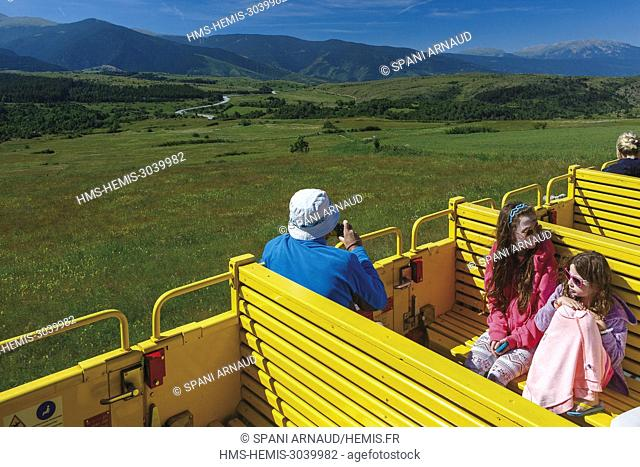 France, Pyrenees Orientales, Natural regional park Catalan Pyrenees, Tet Valley, Bolquere, Le Train Jaune, tourists enjoying the Yellow Train