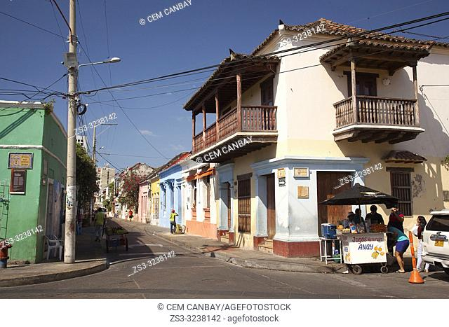 View to the colonial buildings with balconies at the historic center, Cartagena de Indias, Bolivar, Colombia, South America