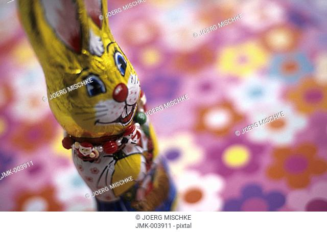 A chocolate Easter bunny on a coloured ground