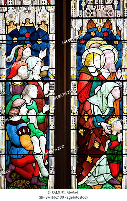 A stained glass window, depicting Christ healing the Sick. Also called The cripples' window. It is based on a painting by Friedrich Overbeck