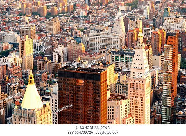 Manhattan street aerial view