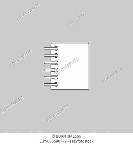 notepad Simple line vector button. Thin line illustration icon. White outline symbol on grey background