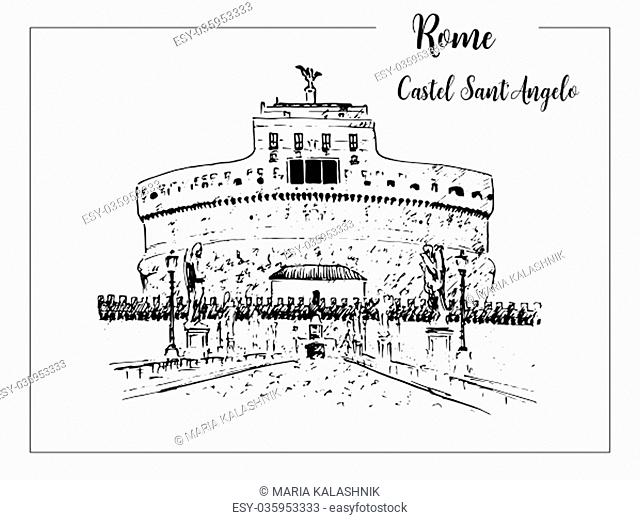 Castel Sant'Angelo. Rome architectural symbol. Beautiful hand drawn vector sketch illustration. Italy. skyline. For prints, textile, advertising, poster