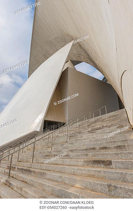 Santa Cruz, Spain - December 6, 2014: Side face and stairs of Concert hall of architect Calatrava in Santa Cruz de Tenerife on the Canary Islands