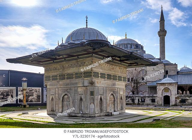 Tophane fountain, a 18th-century public water fountain built by Ottoman sultan Mahmud I and the Nusretiye Mosque, Istanbul, Turkey