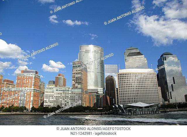 The World Financial Center buildings and Ground Zero from the Hudson River. Lower Manhattan West.  New York, New York. USA