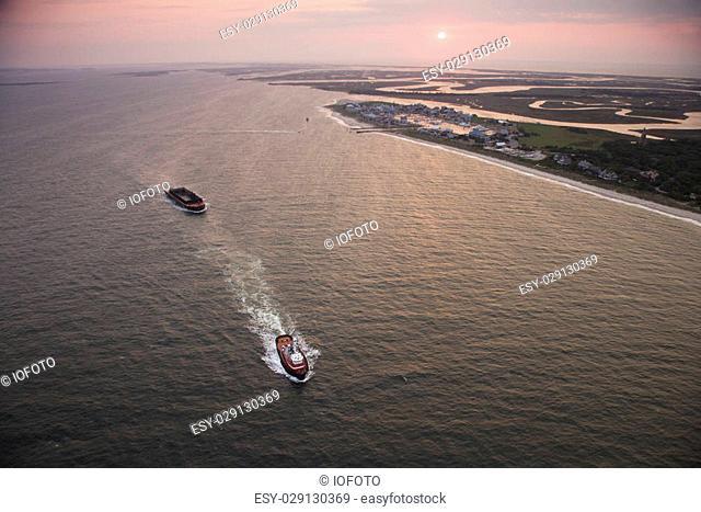 Aerial view of Bald Head Island North Carolina coastline during sunrise