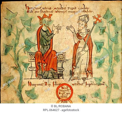 Henry II with Thomas Becket Upper part of folio King Henry II seated on the throne arguing with Thomas Becket. Image taken from Chronicle of England