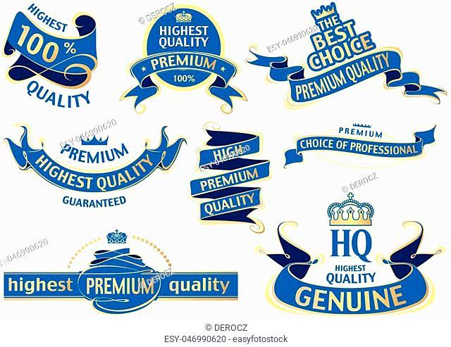 Blue Banner Ribbon Set - Set of Labels Illustration, Vector