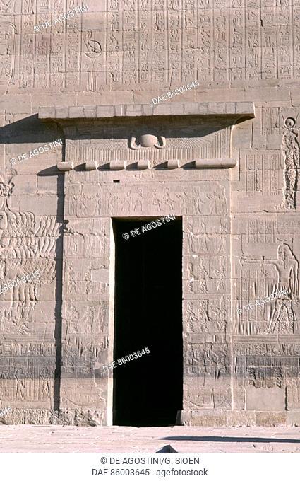 First Pylon's side door, Temple of Isis at Philae (UNESCO World Heritage List, 1979), Agilkia Island, Aswan, Egypt. Egyptian civilisation