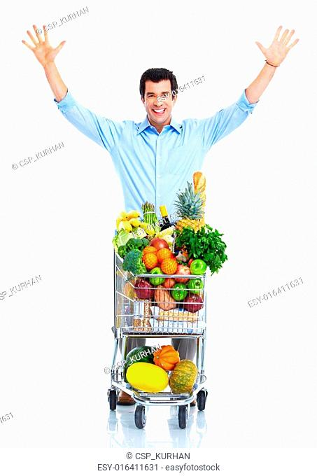 Happy man with a shopping cart
