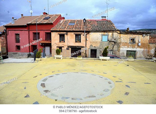 """Square of San Benito in El Negredo """"""""red village"""""""", Segovia, Spain"""