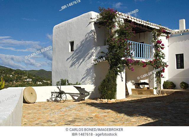 Partial view of a typical Ibizan countryhouse now converted into an ethnological museum, Ibiza, Spain, Europe