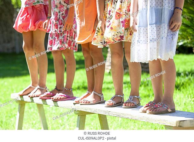 Cropped shot of the legs of five girls standing on garden bench