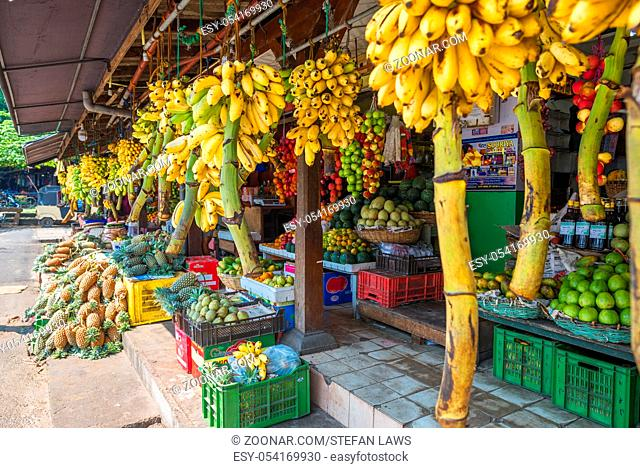 Shop and greengrocer with all kinds of vegetables and tropical fruits in the major city Galle in the south of Sri Lanka. The city is a spot for vending fruits...