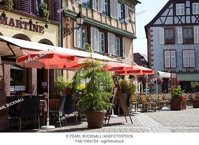 Ribeauville, Alsace, Haut-Rhin, France, Europe  French pavement cafe outside medieval timbered buildings in picturesque town on the Alsatian wine route