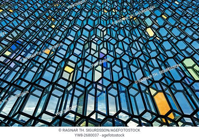 Windows of the Harpa Concert Hall and Conference, Reykjavik, Iceland. The glass facade, which covers the entire building