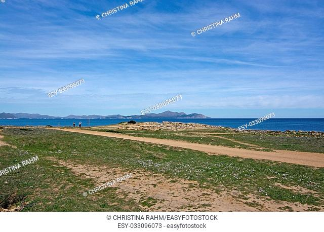 Seaside view on a sunny spring day in north Mallorca, Balearic islands, Spain