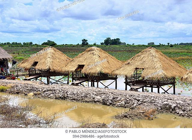 Small cabins over Tonle Sap lake, near Phnom Krum, Cambodia