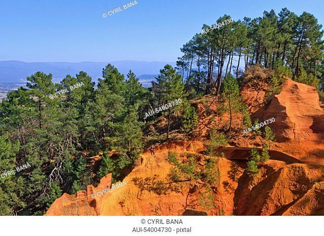 France, Provence, Rustrel, Ochre cliff, landscape